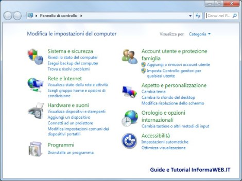 Pannello di controllo di Windows 7