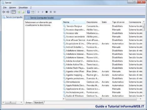 Servizi Attivi di Windows 7