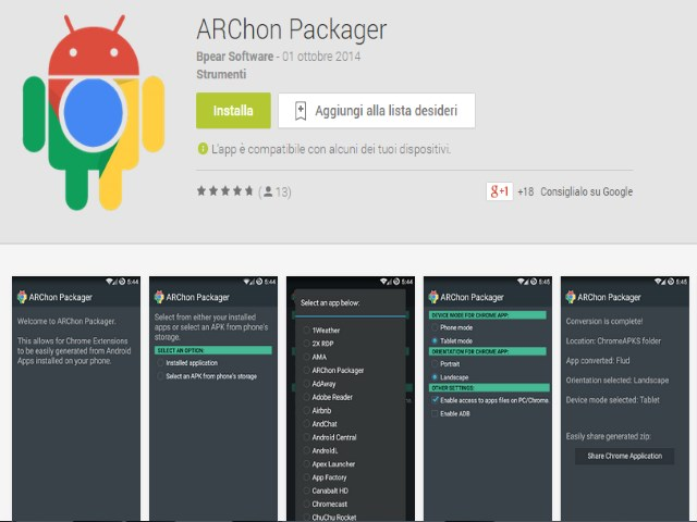 Chrome APK Packager ARChon Come trasformare app Android in estensioni Google Chrome 6
