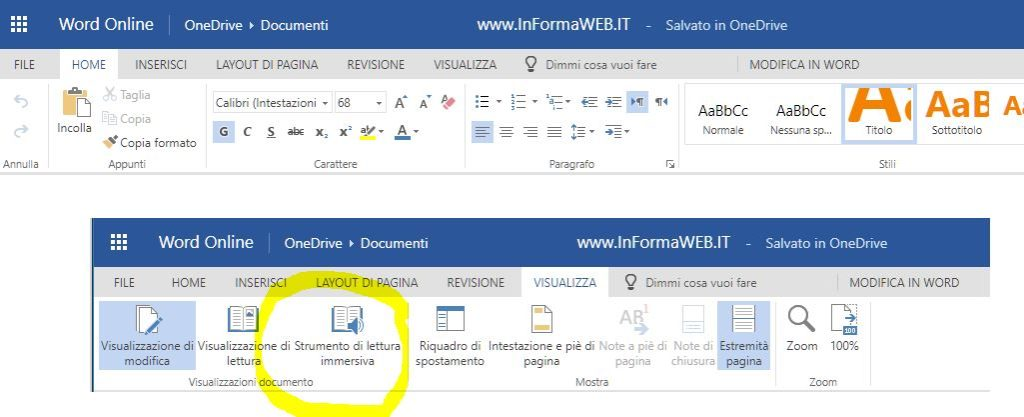 Office Gratis Online Word Strumento Lettura Immersiva