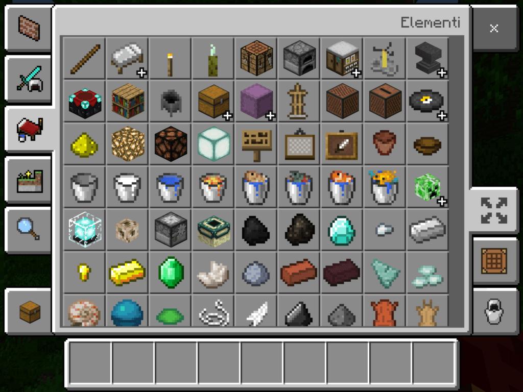 Minecraft blocchi elementi