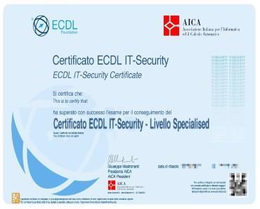 ECDL Spacialised Certificato-IT-Security-Certificazione-Informatica Riconosciuta MIUR