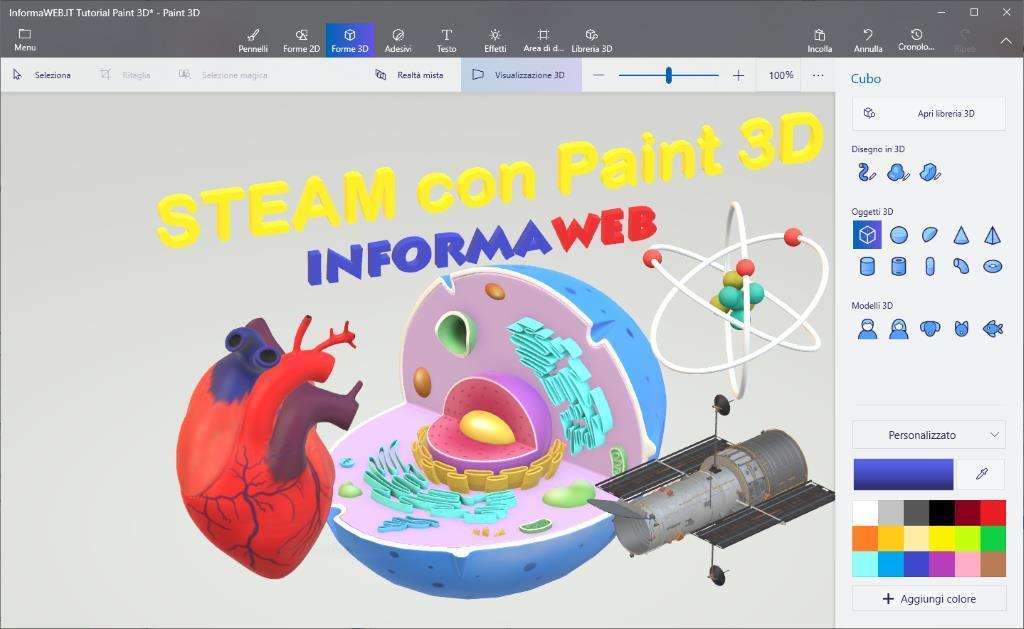Didattica STEAM con Paint 3D Tutorial 2/2 Idee lezioni Scienza Tecnologia Ingegneria Arte Matematica 1