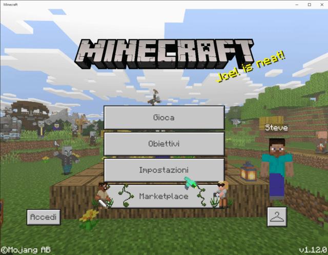 Corso Minecraft schermata iniziale