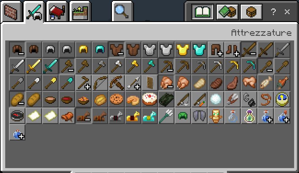 Inventario Minecraft Blocchi attrezzature armi, cibo e pozioni