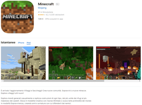 MSL1-0 Acquisto e installazione Minecraft su Apple Store iOS iPad