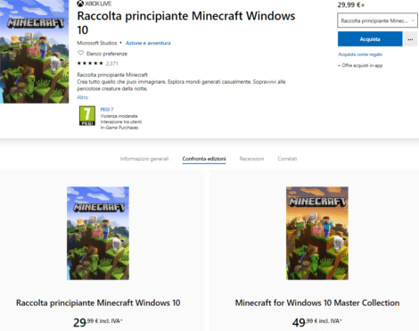 MSL1-0 Acquisto e installazione Minecraft su Windows 10