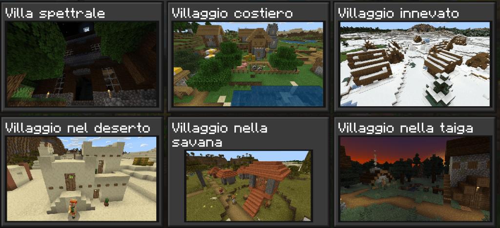 Semi Biomi Minecraft Villa, Villaggi costiero, innevato, nel deserto, nella savana e nella taiga