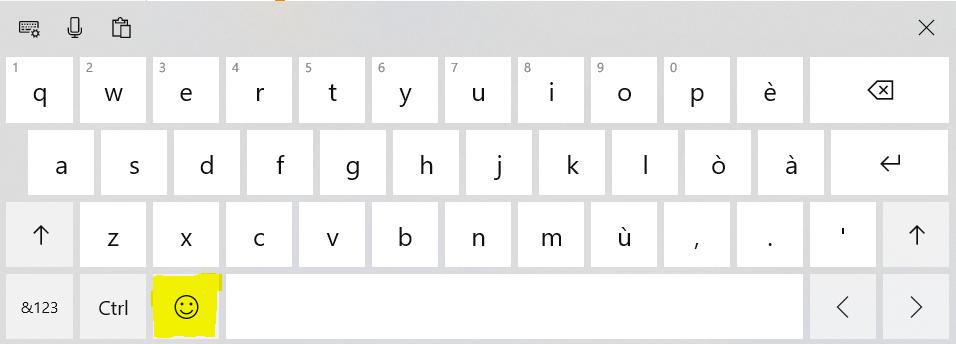 Windows 10 Tastiera a video ed Emoji