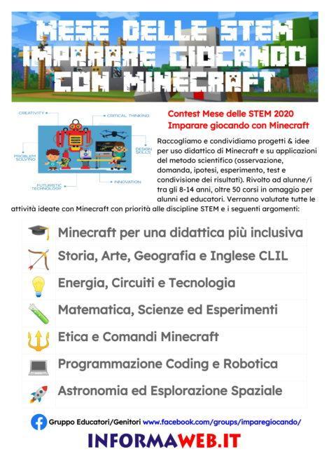 Locandina A3 Contest Mese delle STEM Imparare Giocando con Minecraft