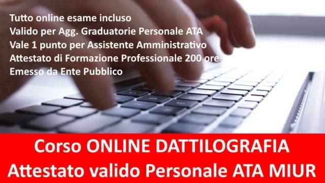 Corso di Dattilografia Online Attestato Riconosciuto MIUR valido 1 Punto Bando Personale ATA Certificazione Addestramento Professionale emesso da Ente Pubblico 1